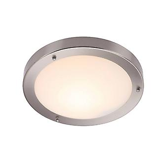 Portico Ceiling Light, Satin Nickel And Glass