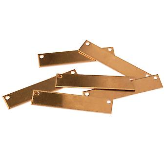 Copper Blanks Rectangle Necklace Banner Pack of 6 40mm X 8mm