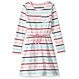 Essentials Little Girls' Long-Sleeve Elastic Waist T-Shirt Dress, mult...