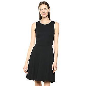Marca - Lark & Ro Women's sin mangas scoop cuello ajustado y vestido de bengala, negro, grande