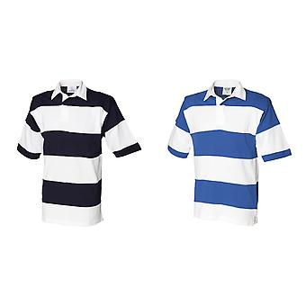 Front Row Sewn Stripe Short Sleeve Rugby Sports Polo Shirt