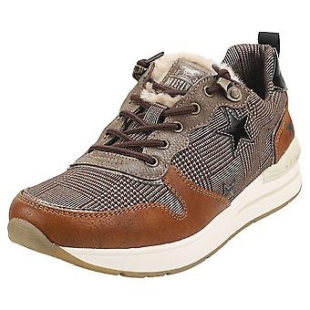 Mustang Lace Up Low Top Stars Womens Fashion Trainers in Cognac