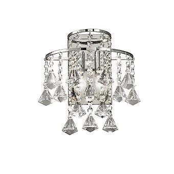 Lámpara de pared conmutada 2 luz cromo pulido, cristal