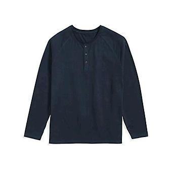 Essentials Men & apos&s Big & Tall Long-sleeve Henley قميص قميص, -Navy, 6XL