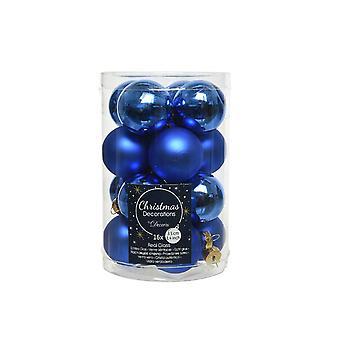 16 3,5 cm Royal Blue Glas Weihnachtsbaum Bauble Dekorationen