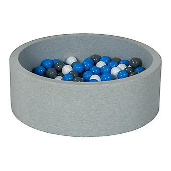 Boks kulowy 90 cm z 200 kulkami biały, niebieski i szary