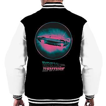 Back to the Future Delorean Flying Pink Haze Men's Varsity Jacket