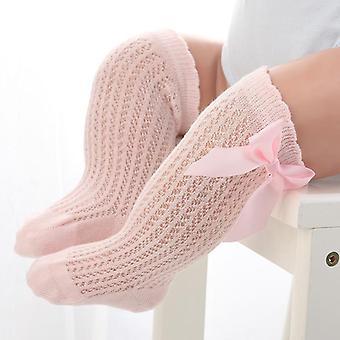 גרבי תינוקות פפיון כותנה רשת, גרביים נושמים, ללא החלקה