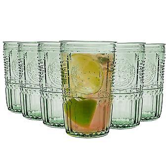 Bormioli Rocco Romantic Highball Lasit Setti - Vintage Italian Cut Glass Cocktail Tumblers - 475ml - Vihreä - Pakkaus 6