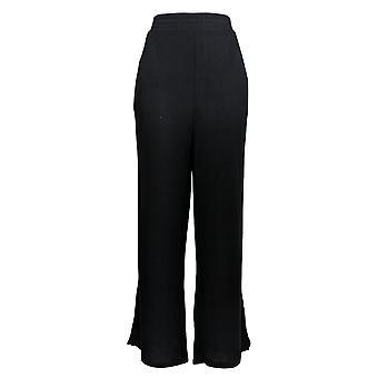 Soft & Cozy Women's Plus Pants Brushed Hacci Knit W/ Pockets Black 627-829