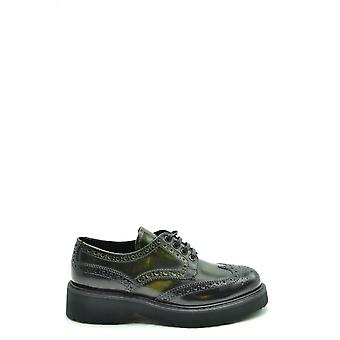 Prada Ezbc021046 Women's Green Leather Lace-up Shoes