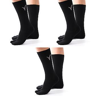 Atletický flip flop tabi big toe posádka sportovní nebo příležitostné černé pevné ponožky -3