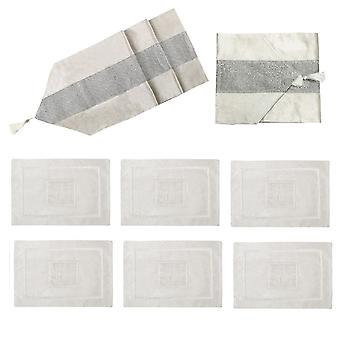 Diamante Terciopelo Mesa Runner + Dining Placemats Table Place Mats Decoración 7 Pcs 83""