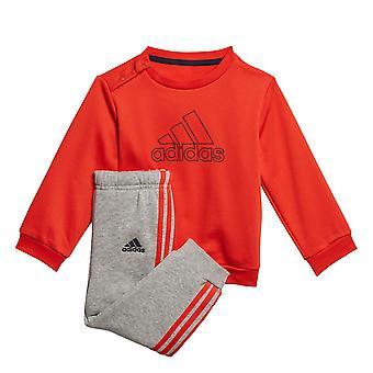 adidas Logo Infant Kids Boys Fleece Crew Tracksuit Suit Jogger Set Red/Grey