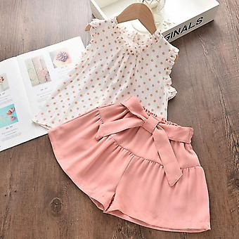 Summer Kids Clothes Floral Chiffon Halter/embroidered Shorts