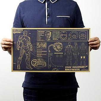 Iron Man Design Drawings Nostalgic Vintage Kraft Paper Movie Poster Magazine