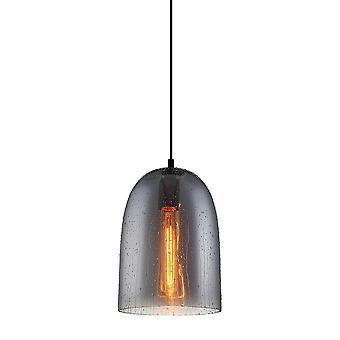 Pingente pendurado moderno preto 1 luz com sombra esfumaçada, E27