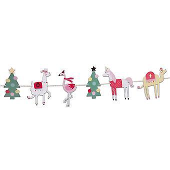 Alpaga Lama Licorne Noël guirlande Bunting 3M Noël Décor