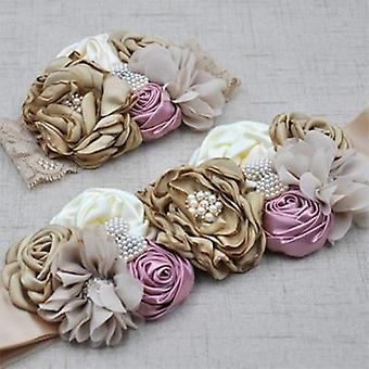 Curling Pearl Handmade Rose Flower Ribbon Hair Band&belt