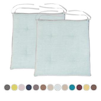 Sky Blue 2pk Garden Cushion Chair Seat Pad Slip Free Tufted hypoallergenic Seating