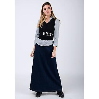 Lottie long denim skirt - dark wash