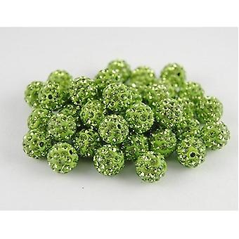 10 Pc's Wholesale 10mm Green Shamballa Crystal Pave Clay Disco Ball / kralen Tsjechisch