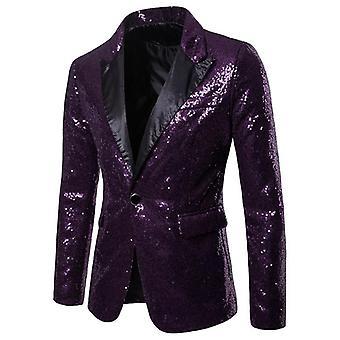 Miehet Glitter Paljetti puku, Takit puku, Juhlatakit, Häät Bleiseri,