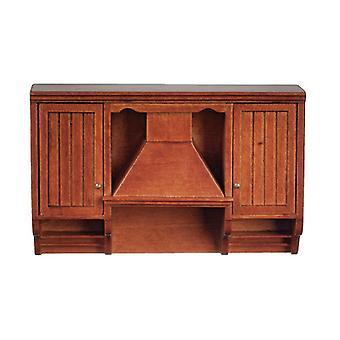 Dolls House Walnut Cooker Range Hood Unit Jbm Miniature Kitchen Furniture
