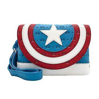 Loungefly x Marvel Captain America Debossed Shield Crossbody Bag