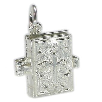 Bible Opening Sterling Silver Charm .925 X 1 Holy Books Religious Charms - 175