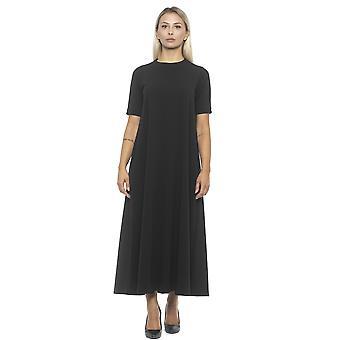 アルファ スタジオ ネロ クレープ ロング ドレス