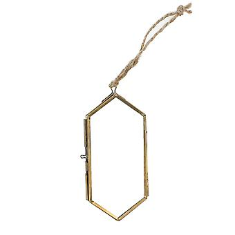 Metal And Glass Hexagonal Frame, Large, Brass And Clear