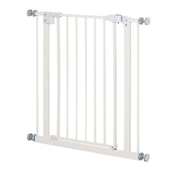 PawHut 74-84cm Adjustable Metal Pet Gate Safety Barrier w/ Auto-Close Door Double Locking Easy-Open Doors Stairs Home Frames White