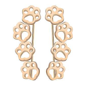 Gold Paw Pattern Earrings Stud