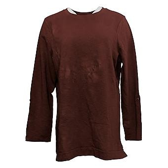 Denim & Co. Women's Top Active French Terry 3/4 Sleeve Tunic Brown A383248