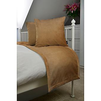 Matt caramel gold velvet bedding set