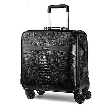 Nahka vintage, krokotiili kuvio, liikkuva matkalaukku spinner, retro matkalaukku,