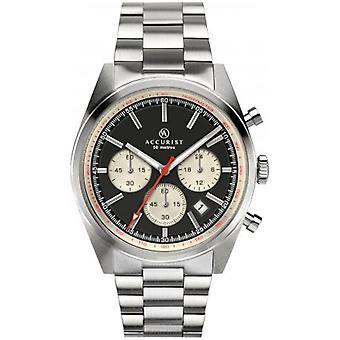 Accurist 7216 Signature Black & Silver Reloj para Hombre de Acero Inoxidable