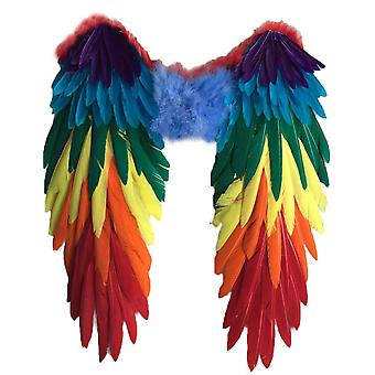 Smaskiga bivingar fjäder flerfärg fancy klänning kostym fest karneval papegoja vuxen stor 48c