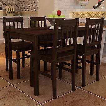 Dining Set 5 Pieces Pine Wood Brown