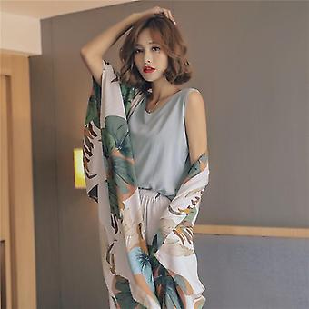 4 Piece Spring Summer Women Pajamas