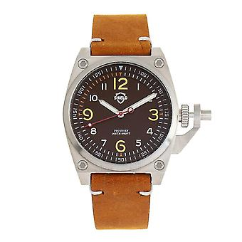 Shield Pascal Quartz Brown Dial Camel Leather Men's Watch SLDSH102-3