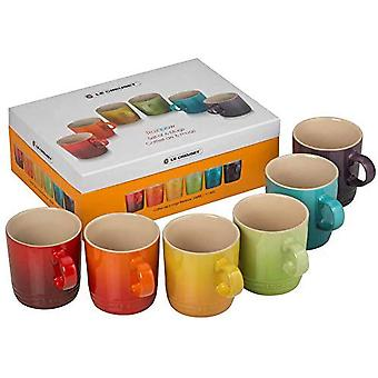 LE CREUSET 79114358359030 Stoneware Rainbow Coffee Mugs, 350 ml, Set of 6 Colours: Cherry, Volcanic,
