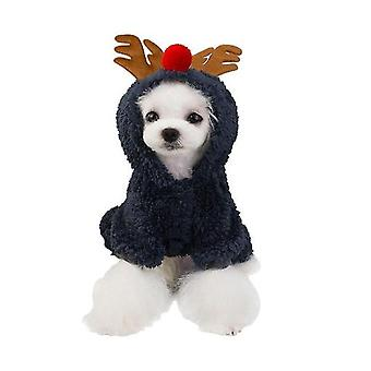 Cute Cartoon Pet Costume Christmas Reindeer Cosplay Winter Warm Hooded Soft Coral Fleece