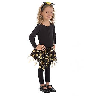 Zwarte tutu en gouden Halloweenmeisje