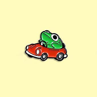 Frosch Treiber Emaille Pin, kleine rote Auto Brosche, Rucksack Kleidung Revers, Tier