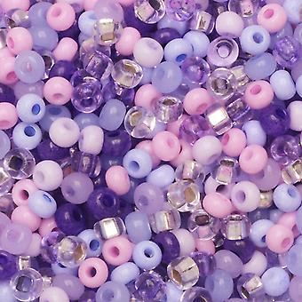 Cuentas de semillas de vidrio checas, 8/0 Round, 1 onza, Purple Parasols Mix