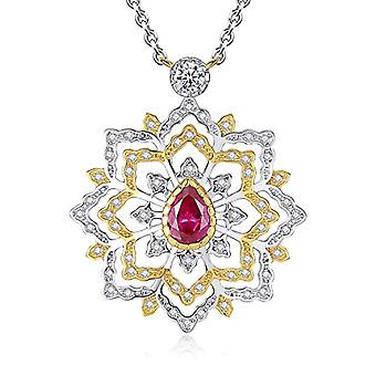 GemShadow Women 925 Sterling Silver CZ Drop Necklace and 925, Color: Ruby Red, cod. AQEN000029