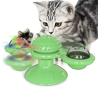 Pet Dog Cat Toy Rotate Windmill Toothbrush With Catnip Whirling Turntable Teasing Ball(green)