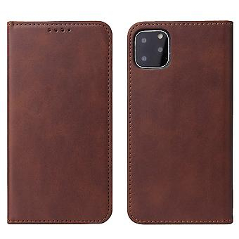 Flip folio leather case for iphone x/xs brown pns-1976